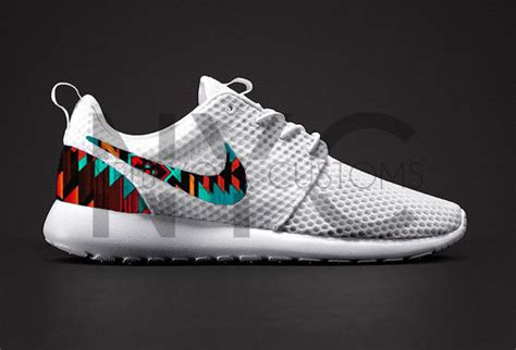 tribal pattern nike free runs shoes white aztec tribal pattern nike roshe run nike