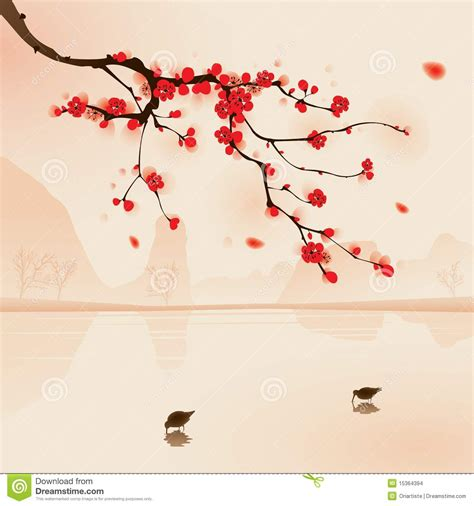 Orientalischer Stil by Style Painting Plum Blossom In Stock