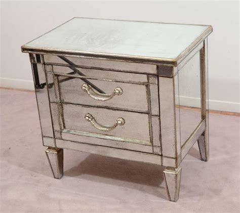 Wood And Mirrored Nightstand Pair Of Vintage Mirrored Nightstands W Silver Leafed Wood