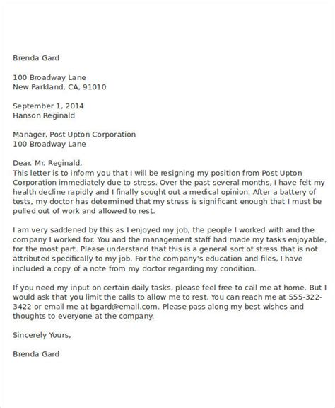 resignation letter due to illness template 9 resignation letter due to stress template pdf word