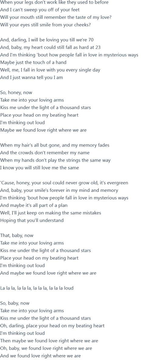 ed sheeran out loud lyrics ed sheeran thinking out loud lyrics official video