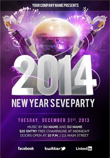30 New Photoshop Freebies New Years Flyer Template