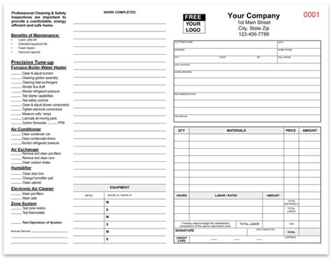 air checklist template hvac safety inspection and cleaning invoice