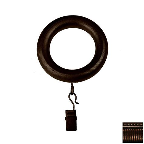 wood curtain rings with clips shop bcl drapery 7 pack walnut wood curtain rod clip rings
