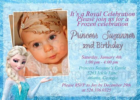 frozen birthday invitation with photo disney frozen birthday invitation best ideas