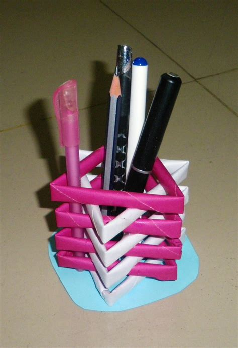 How To Make Pen Stand Using Paper - how to make a pen stand from waste material diy paper