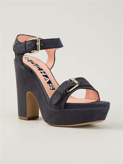 platform sandals rochas platform sandals in blue lyst
