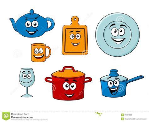 dibujos infantiles utensilios de cocina collection of cartoon kitchenware stock vector