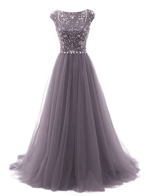 Tideclothes Long Beads Prom Dress Tulle Cap Sleeves Evening Dress at Amazon Women?s Clothing