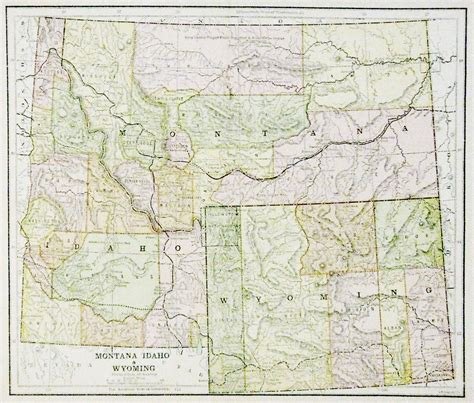 idaho montana map map of montana idaho wyoming 1885 11 x 13 multi