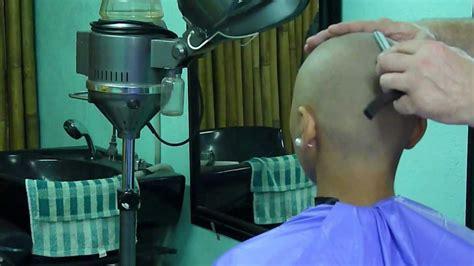 razor head shave girl straight razor head shave girl youtube