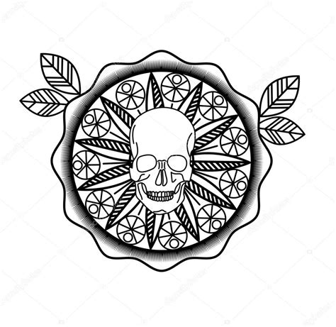 mandala with skull circle vector design stock vector