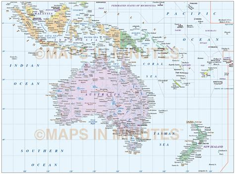 digital vector australasia map basic region country map
