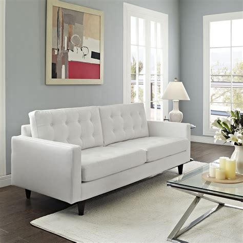 tufted white leather sofa empress tufted bonded leather sofa white dcg stores