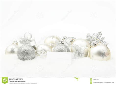 silver christmas decoration on snow with wishes card stock