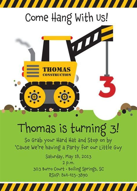 construction themed birthday card template crane construction truck birthday invitation come