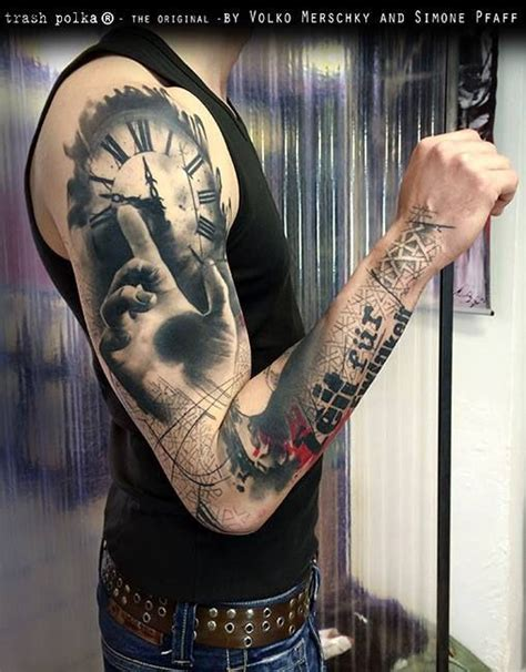 quarter sleeve clock tattoo 36 best clock quarter sleeve tattoos images on pinterest