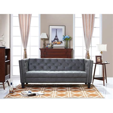 preston leather sofa preston gray bi cast leather sofa 1611039abs the home depot