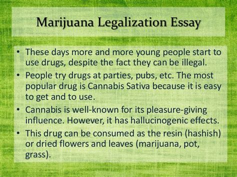 Marijuana Should Be Essay by Marijuana Legalization Essay