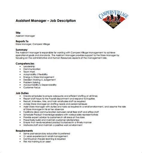 assistant manager description template 9 free word pdf format free premium