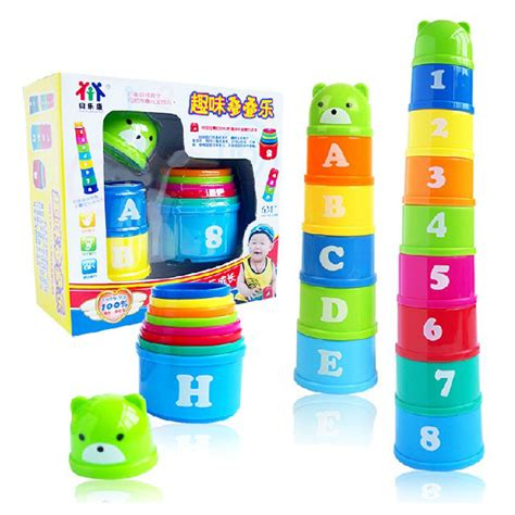 Promo Hexagon Stacking Cup magic speed flying stack cup jenga knowing the numbers and letters eductional sport stacking