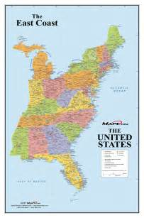 map of coast east coast usa wall map maps
