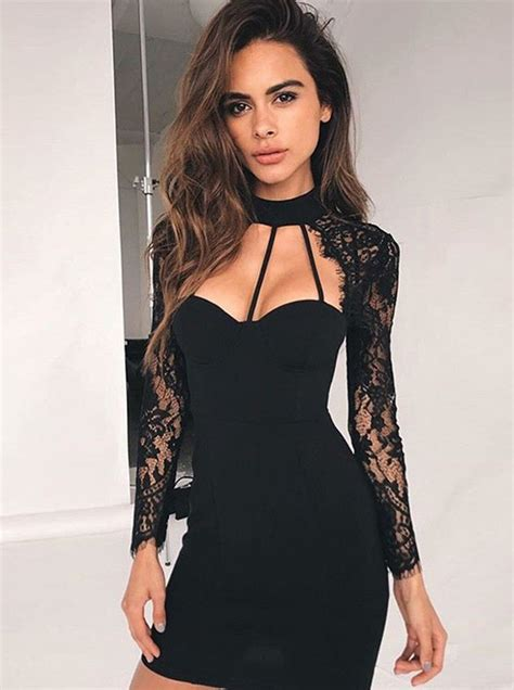 Front Simple Dress bodycon high neck lace sleeves cut out front black dress special occasion dresses