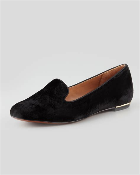 zoe zahara velvet slipper black in black lyst