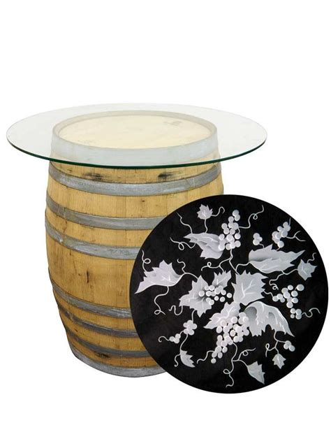 wine barrel table glass top wine barrel table with etched glass top awesome things