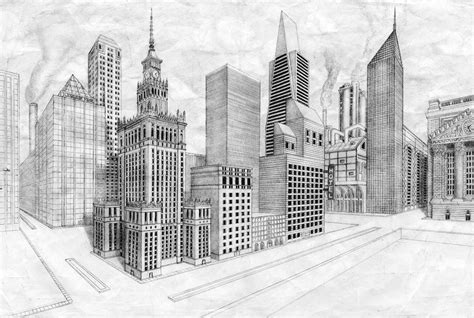 2 Point Perspective Drawing Cityscape by 2 Point Perspective City