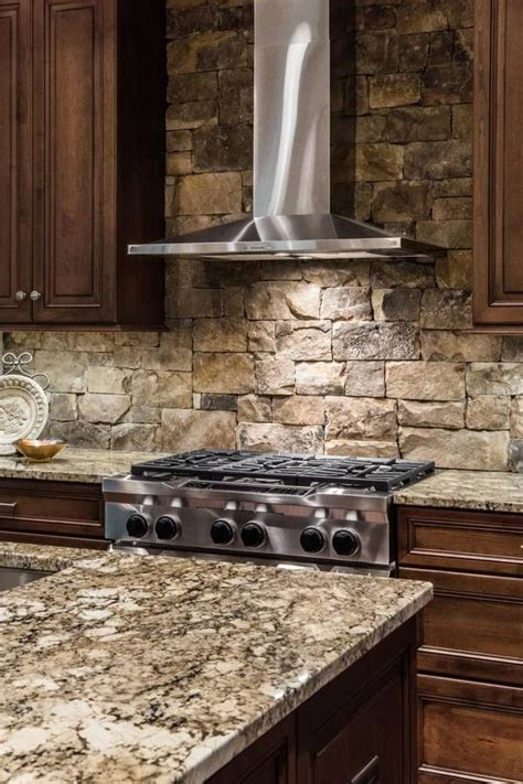 kitchen stone backsplash ideas stacked stone kitchen backsplash contemporary kitchen