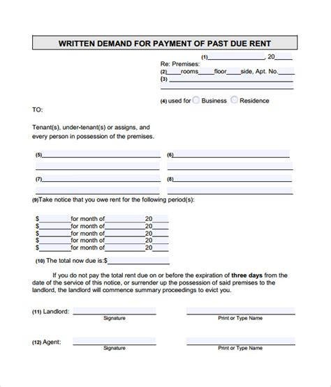 late rental notice templates 8 sles exles format