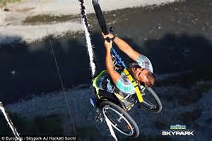 Bungee Jumping Chair - paraplegic aleksey mayuk bungee jumps while strapped into