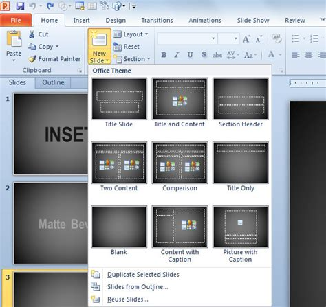 inserting a new slide in powerpoint 2010 powerpoint