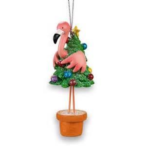 tropical tiki pink flamingo christmas holiday tree