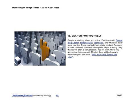 No Cost Search Marketing In Tough Times 20 No Cost Ideas