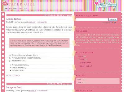 free girly templates for blogger blogskinscom the free blog templates community party