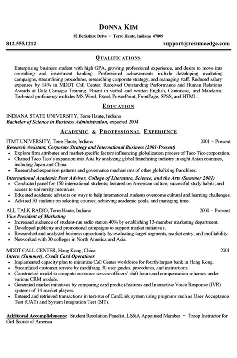 Resume Templates For College Students College Student Resume Exle Business And Marketing