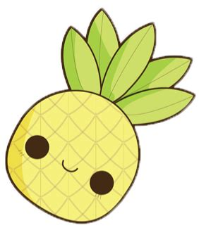 pineapple cute kawaii yellow fruit tropical freetoedit...