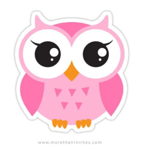 cute, pink owl sticker more than invites