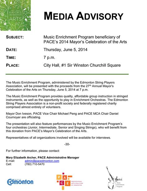 media alert template mayor s celebration of the arts the professional arts