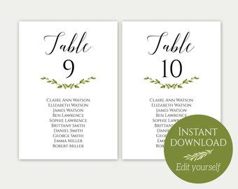 Seating Card Etsy Seating Chart Cards Template Free