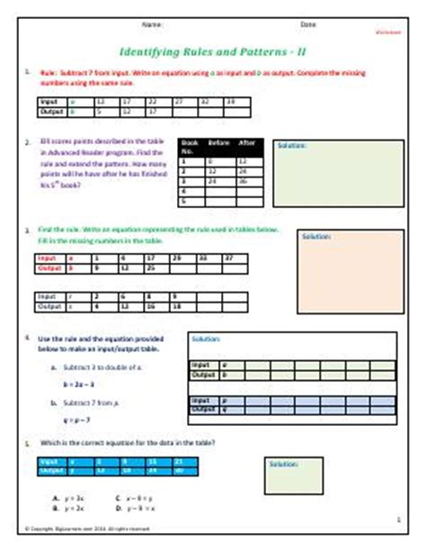 identify pattern rule identifying rules and patterns fourth grade math