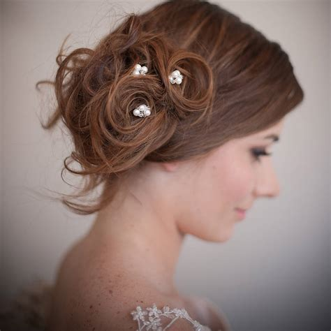 Wedding Hair With Pin by Set Of Pearl Blossom Wedding Hair Pins By Chez Bec