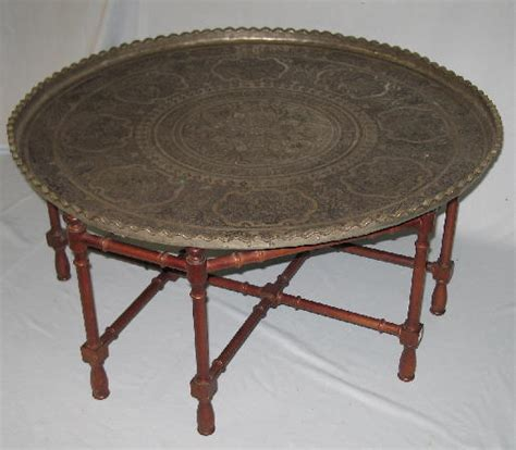 54 coffee table embossed indian metal tray with figur