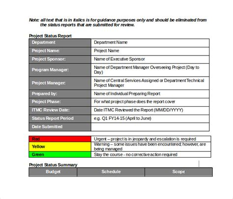 project monthly report template and form sample for your