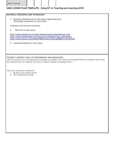 lesson plan template ict xmss ict lesson template clement