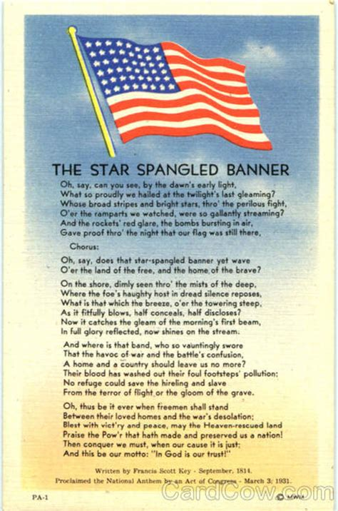 printable lyrics star spangled banner their blood has washed out their foul footsteps by francis