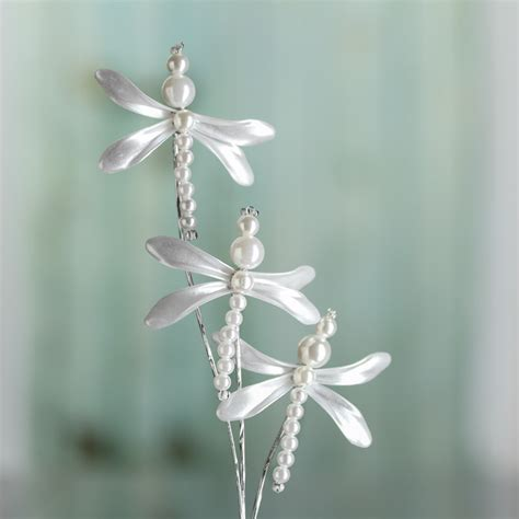 white pearl dragonfly floral spray picks sprays and
