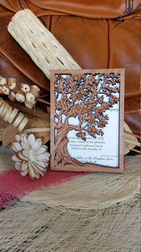 Unique Wedding Invitations Autumn by Tree Of Wedding Invitation Wood Wedding Invitation